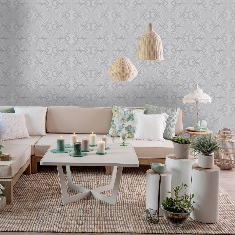 Holden Wallpapers Grey & Silver Geometric Star Wallpaper
