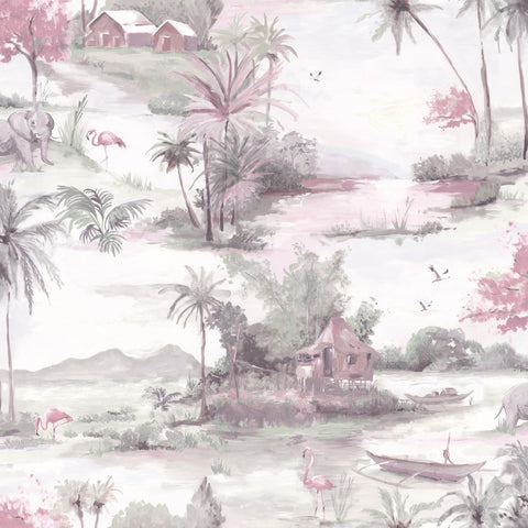 Holden Wallpapers Manyara Dusky Pink / Grey Landscape Wallpaper