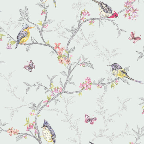 Holden Wallpapers Phoebe Soft Teal Birds Wallpaper