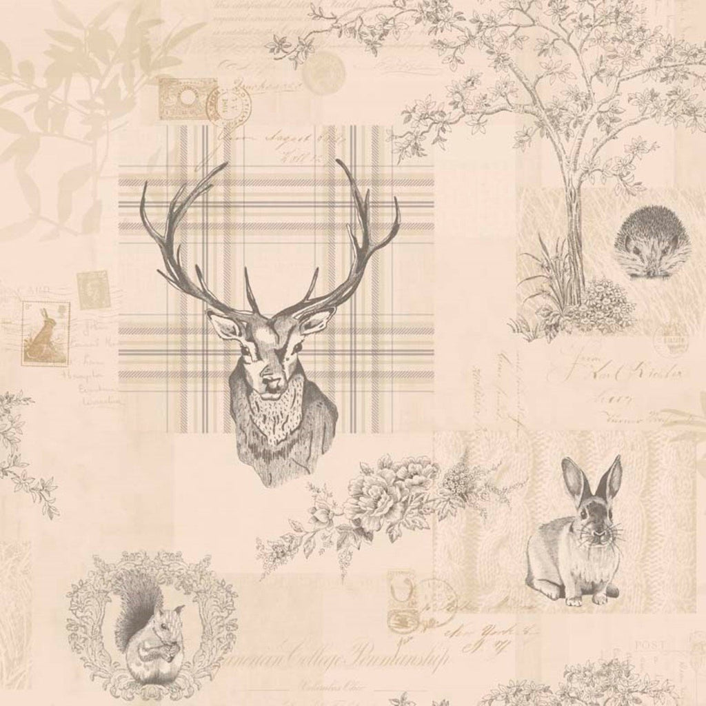 Holden Wallpapers Richmond Charcoal / Linen Stag Wallpaper