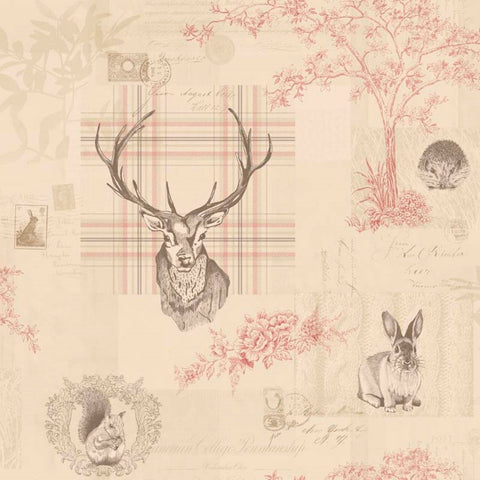 Holden Wallpapers Richmond Cranberry / Linen Stag Wallpaper