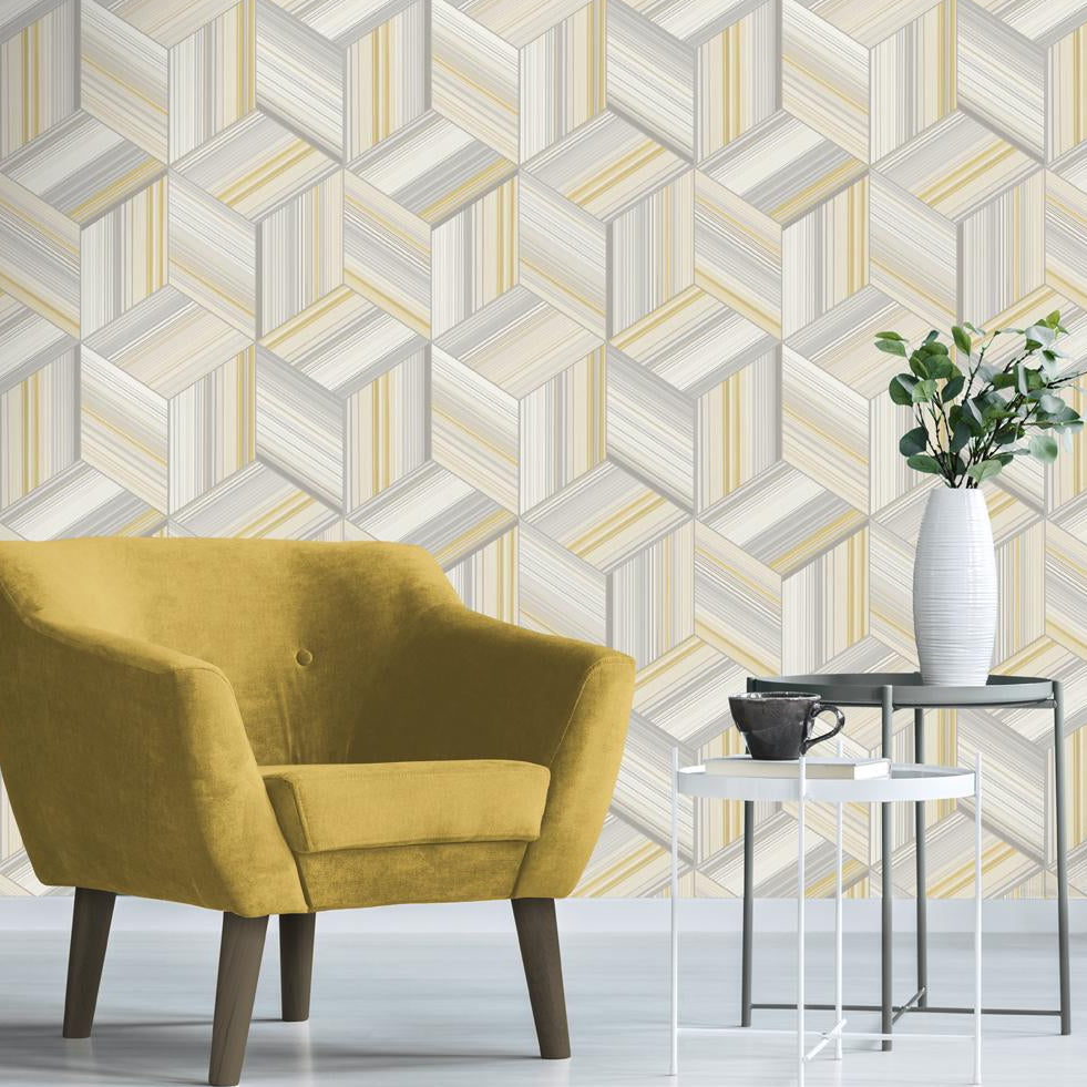 Hudson Yellow and Grey 3D Geometric Cube Wallpaper