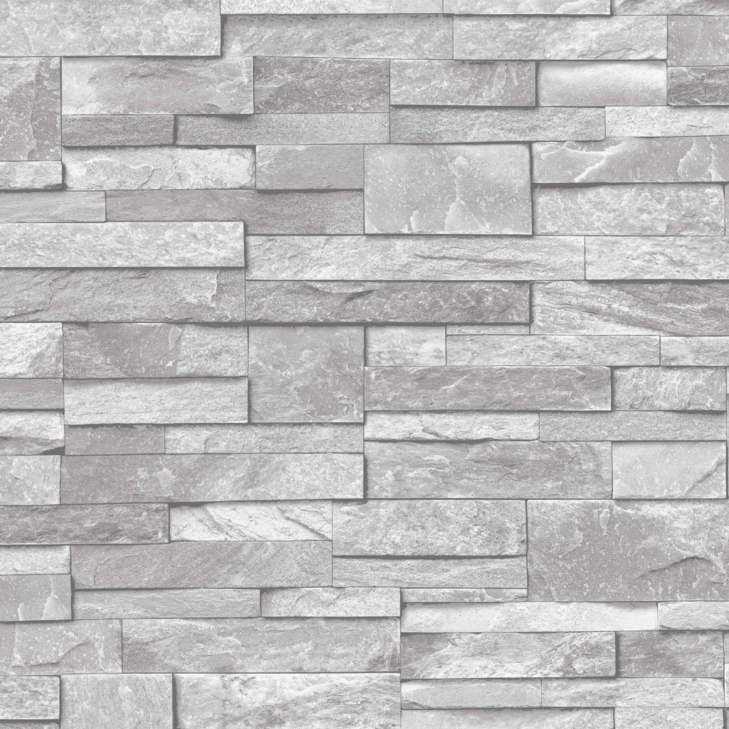 Ideco Wallpapers Ideco Light Grey Stone Wallpaper