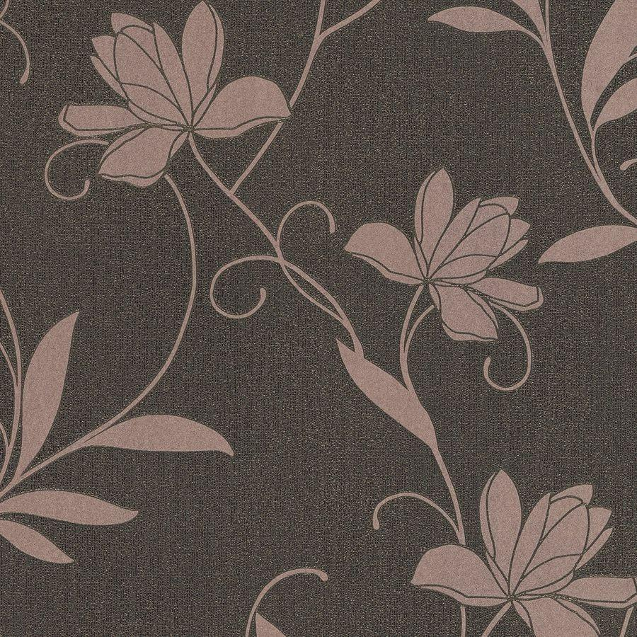Jewel Glitter Floral Black and Rose Gold Wallpaper