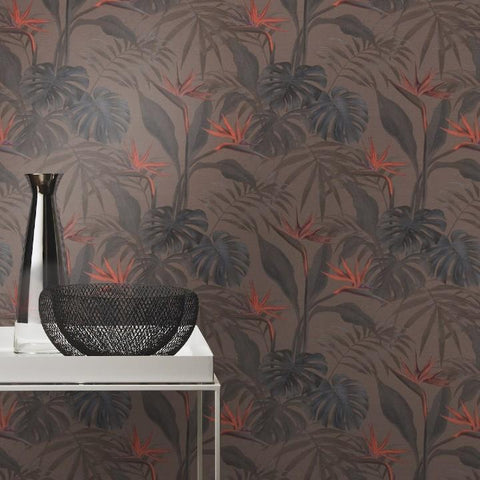 Mandalay Tropical Leaves Brown and Orange Wallpaper