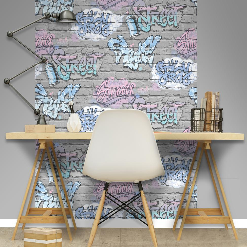 Muriva Wallpapers Blue Graffiti Grey Brick Wallpaper