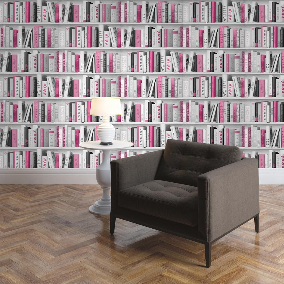 Muriva Wallpapers Fashion Library Pink Bookshelf Wallpaper