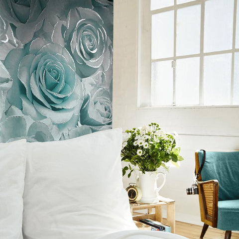 Muriva Wallpapers Madison Glitter Aqua Blue Rose Wallpaper