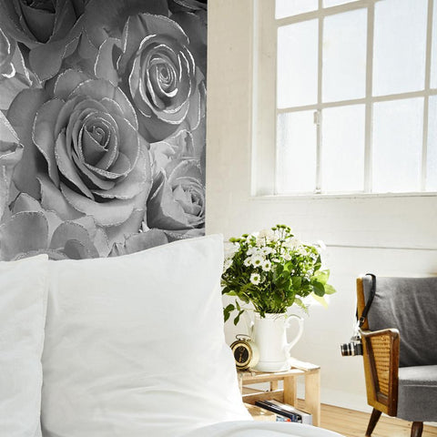 Muriva Wallpapers Madison Glitter Silver / Grey Rose Wallpaper