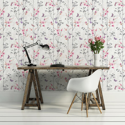 Muriva Wallpapers Novelties Eden Pink Wallpaper