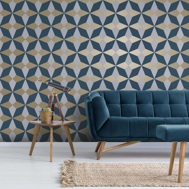 Nova Blue and Gold Geometric Wallpaper