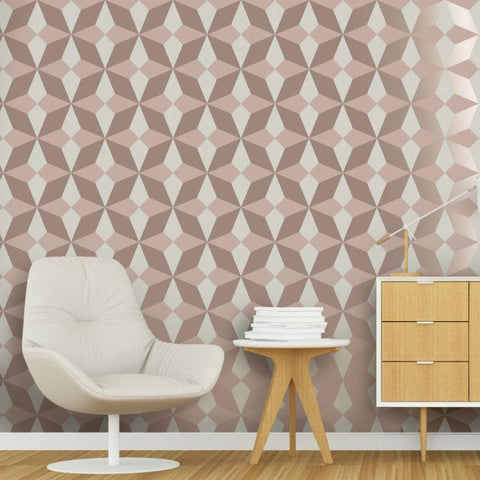 Nova Pink and Rose Gold Geometric Wallpaper