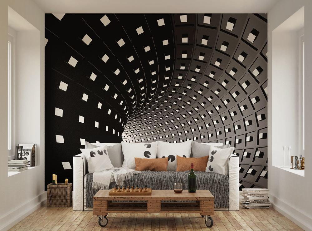 Black And White Black Hole Effect Infinity Wall Mural By