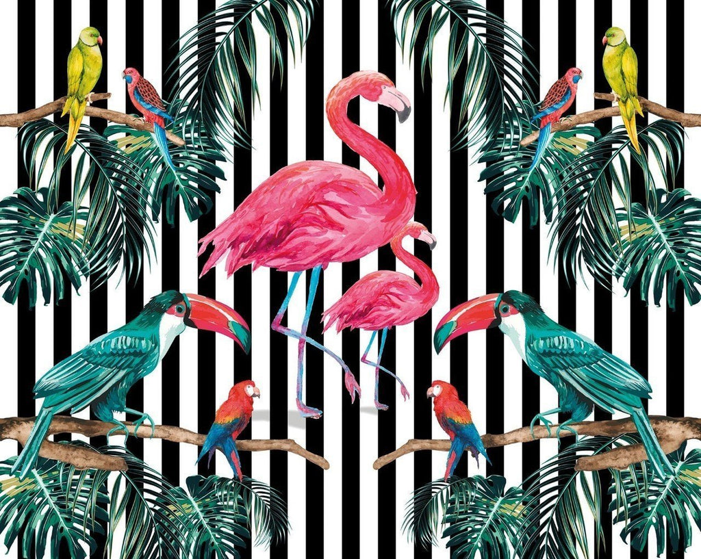 flamingo mural with exotic birds on black and white stripe