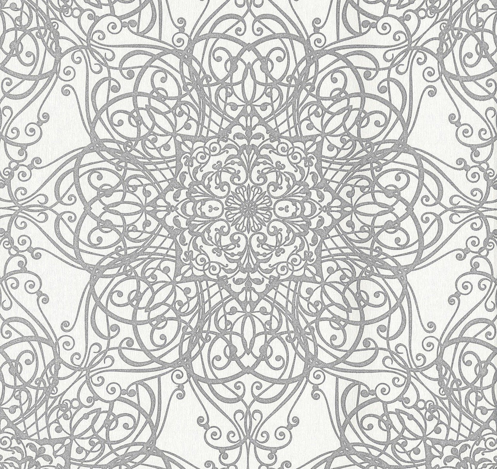 P+S International Wallpapers Glamorous Tapestry Swirl White / Silver Wallpaper