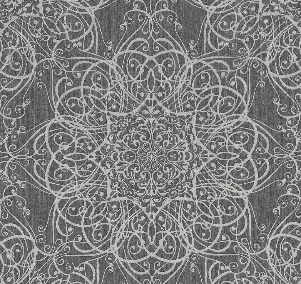 P+S International Wallpapers Glamourous Tapestry Swirl Charcoal Wallpaper