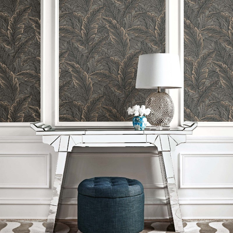 Pear Tree Charcoal / Bronze Tropical Leaf Wallpaper