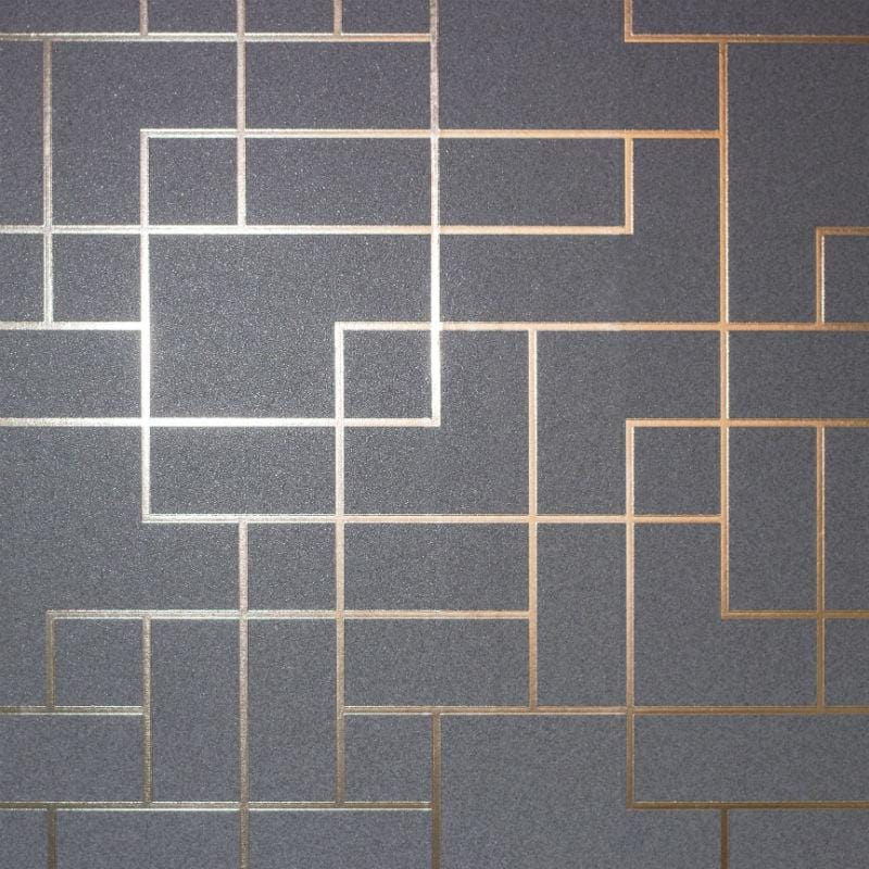 Platinum Foil Geometric Charcoal and Copper Wallpaper