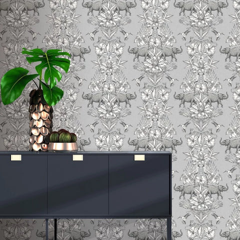 Silver and grey elephant floral stripe wallpaper in room