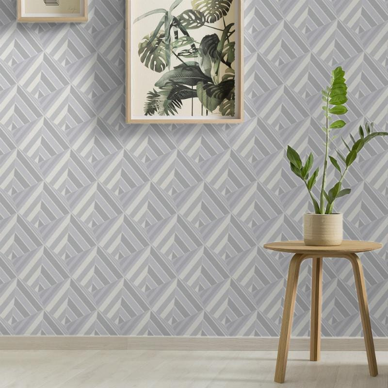 Prism Geometric Grey and Silver Wallpaper