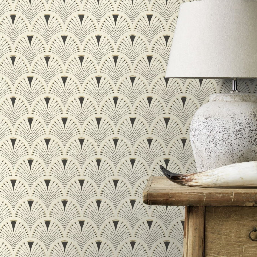 Black white and gold fan pattern wallpaper in room