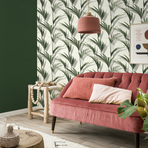 3D effect green palm leaf wallpaper in living room
