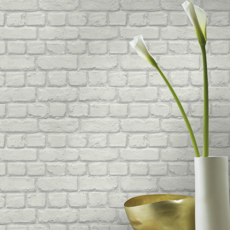 Rasch Light Grey Brick Wallpaper