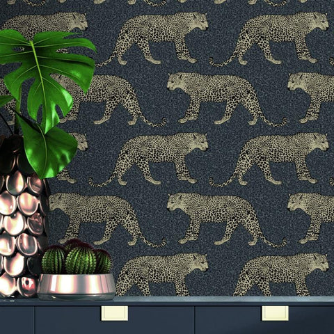 Portfolio Black and Gold Leopard Wallpaper