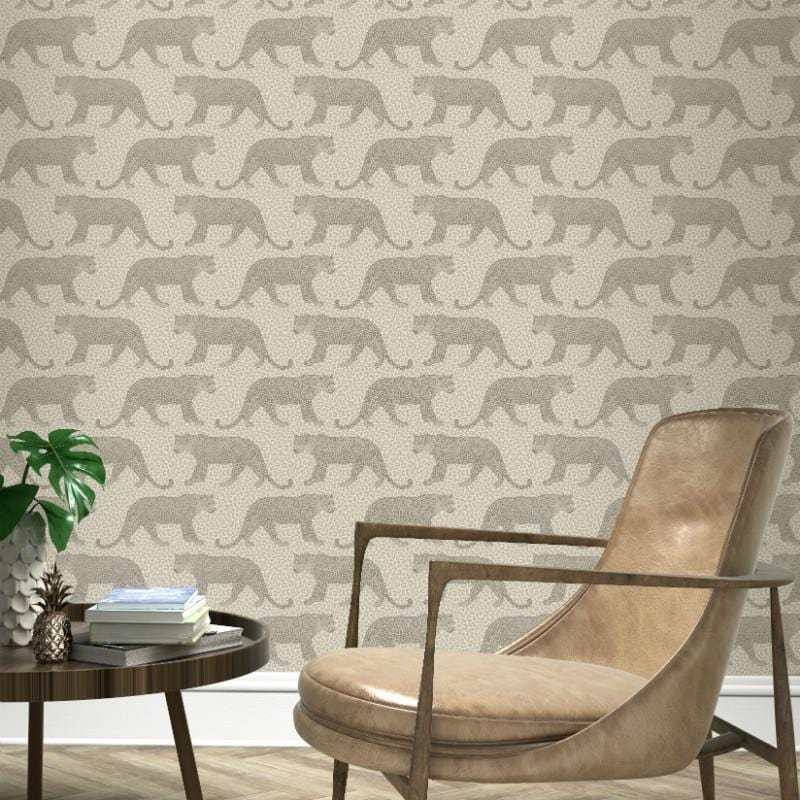 Portfolio Pewter Leopard Wallpaper