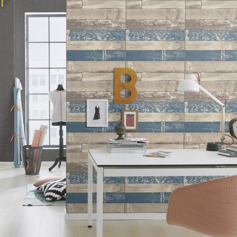 Selection Relief Beige and Blue Wood Panel Wallpaper