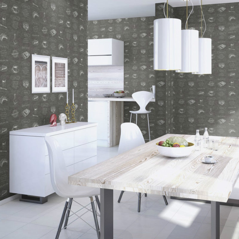 Selection Relief Cafe Slate Grey Wallpaper