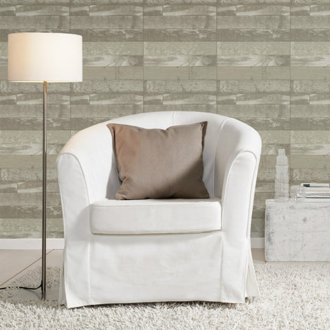 Selection Relief Green and Grey Wood Panel Wallpaper