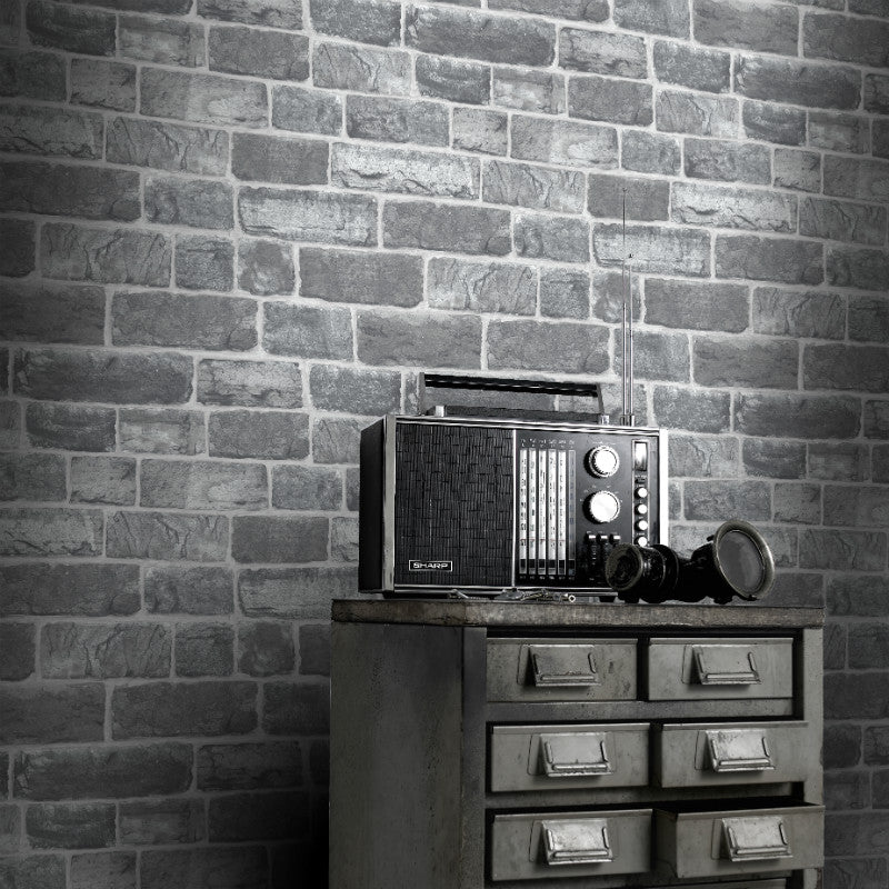 Urban style grey brick wallpaper in room