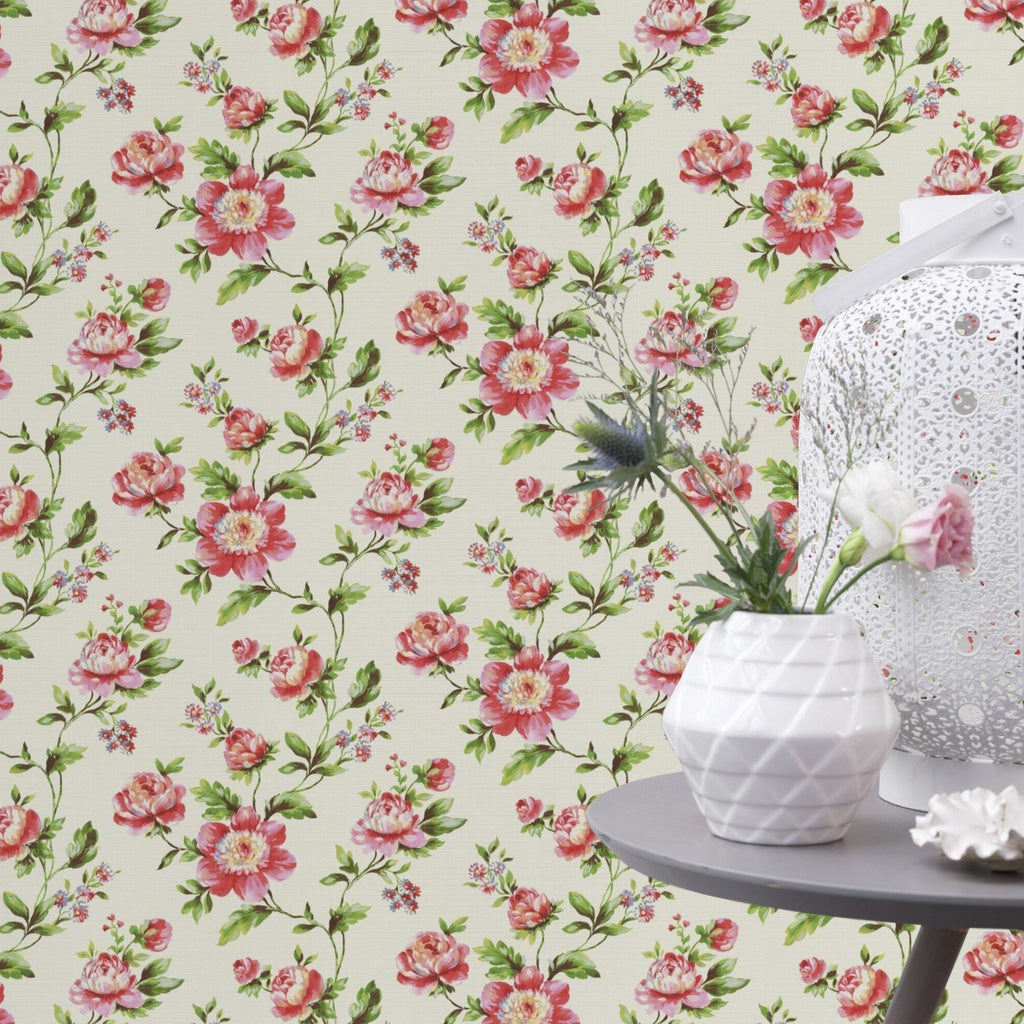 Rasch Wallpapers Freundin Light Cream / Red Floral Wallpaper