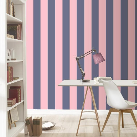 Rasch Wallpapers Pink and Blue Stripe Wallpaper