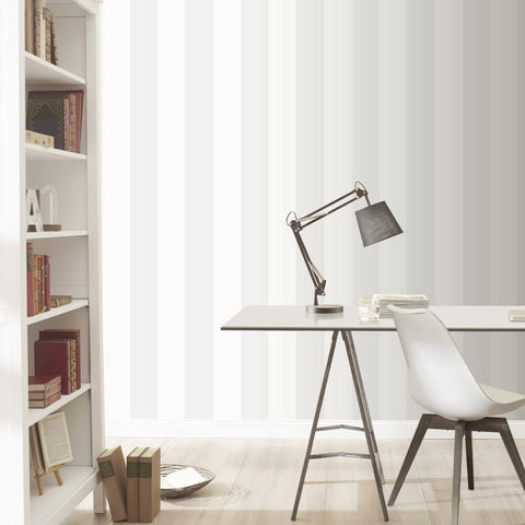 Rasch Wallpapers White and Silver Stripe Wallpaper