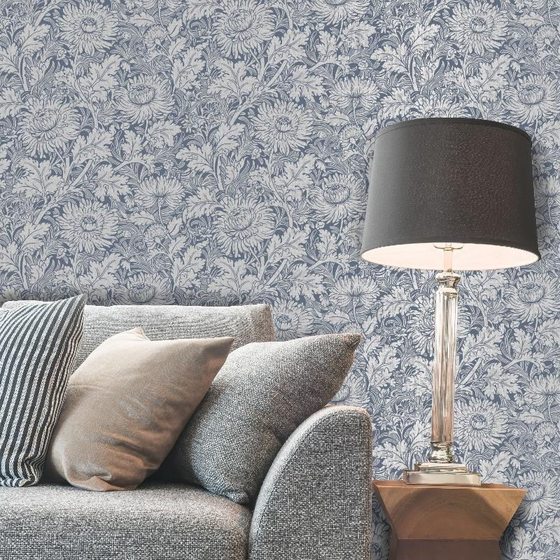 Sandringham Blue and Silver Floral Wallpaper