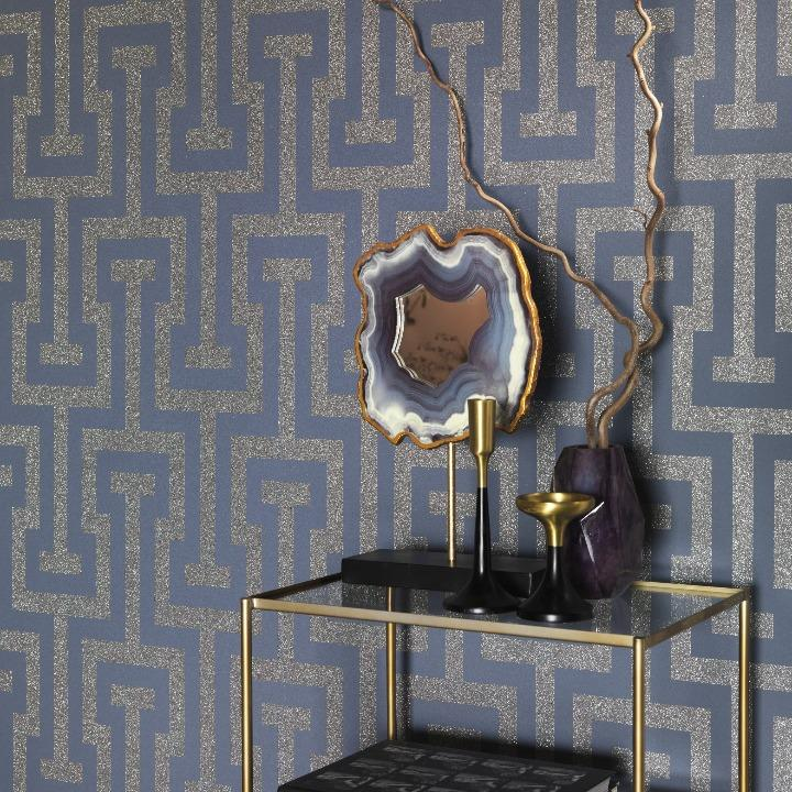 Sparkling Geometric Key Blue / Gold Glitter Wallpaper
