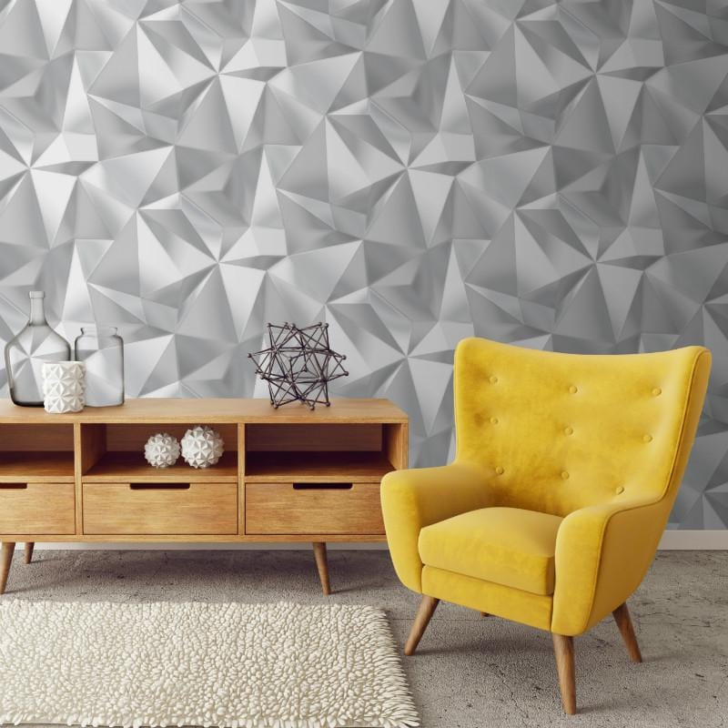 Spectrum 3d Geo Silver And Grey Wallpaper 5020 By Debona