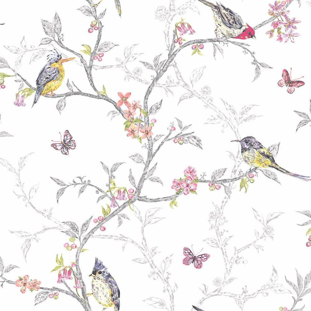 Statement Wallpapers Phoebe White Birds Wallpaper