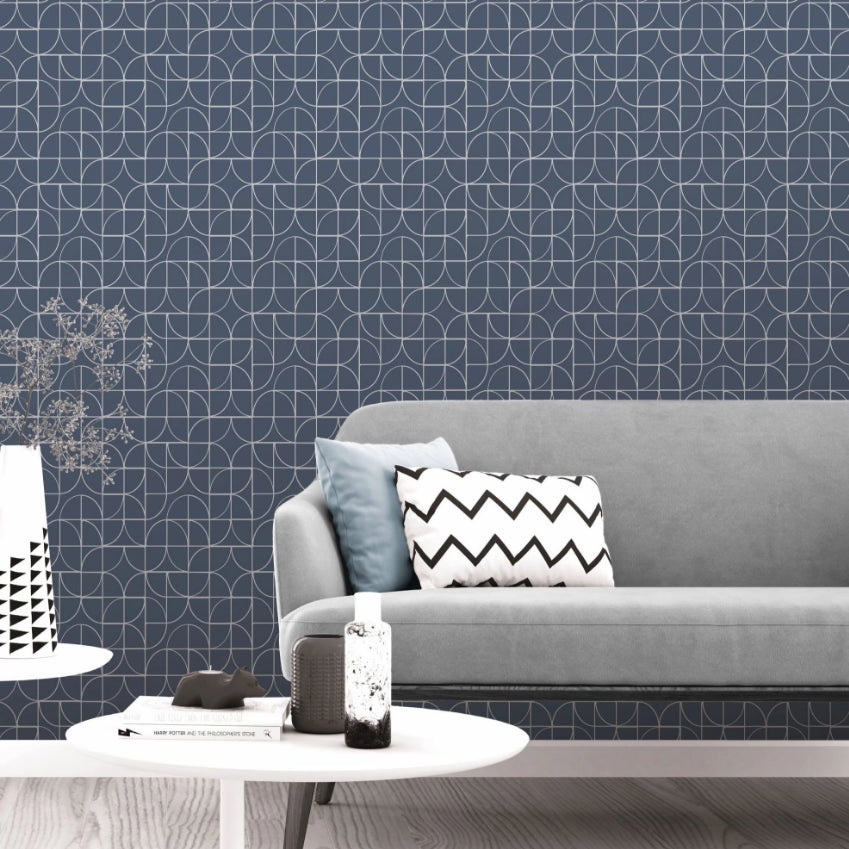 Blue and silver geometric curve wallpaper in room