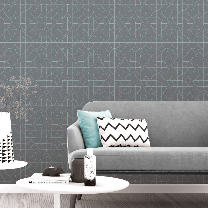 Grey and teal geometric curve wallpaper in room