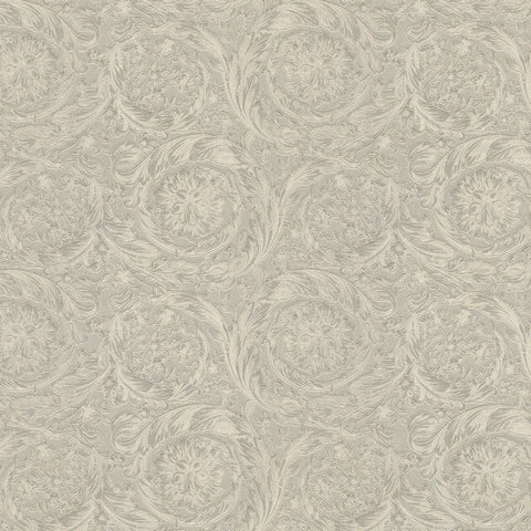 Versace Barocco Metallic Pewter Floral Wallpaper