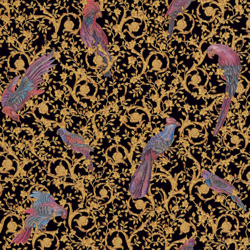 Versace Black and Gold Barocco Birds Wallpaper