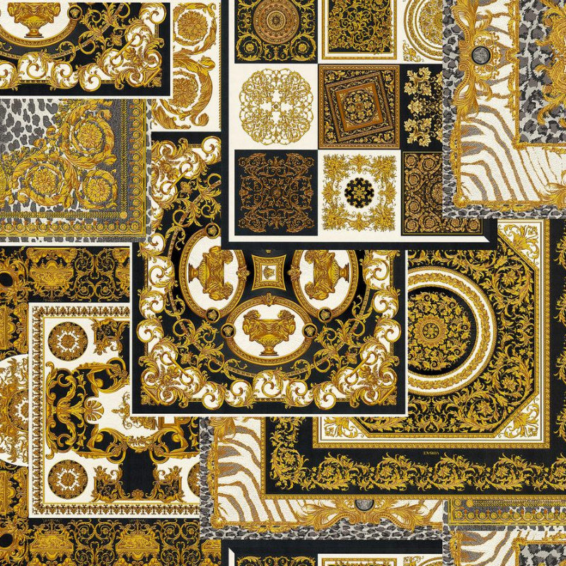 Versace Black and Gold Decoupage Tile Wallpaper