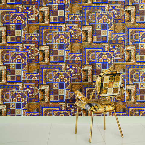 Versace Blue and Gold Decoupage Tile Wallpaper