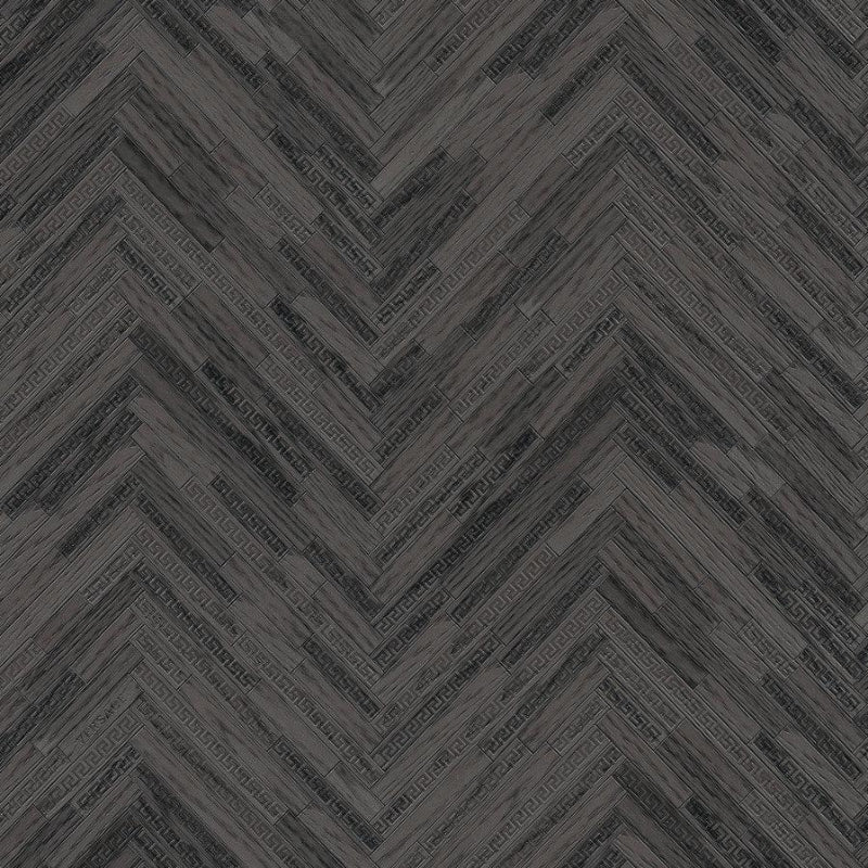 Versace Charcoal Wood Panel Wallpaper