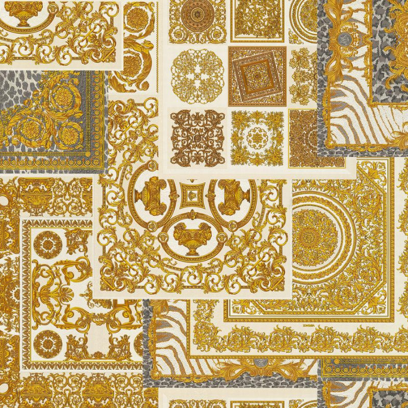 Versace Cream and Gold Decoupage Tile Wallpaper