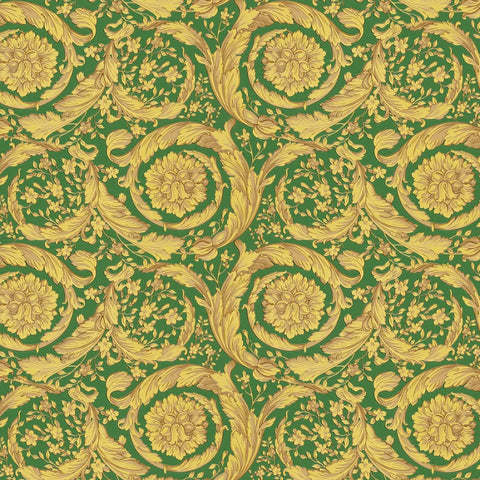 Versace Green and Gold Barocco Wallpaper