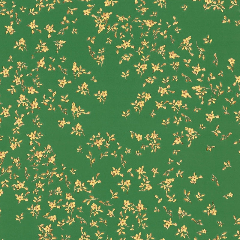 Versace Green and Gold Scattered Flowers Wallpaper